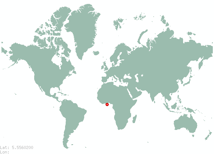Accra in world map